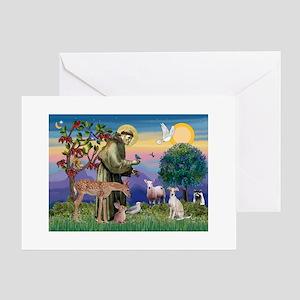 St Francis / Ital Greyhound Greeting Card