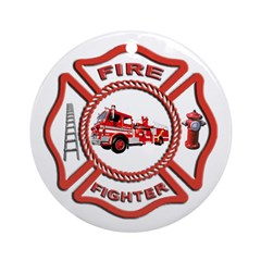 Fire Fighter Ornament (Round)