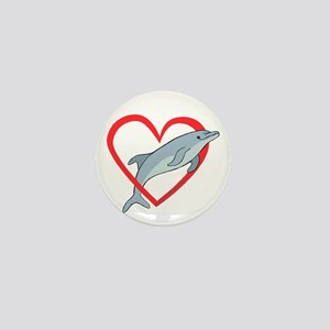 Dolphin Heart Mini Button