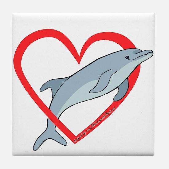Dolphin Heart Tile Coaster