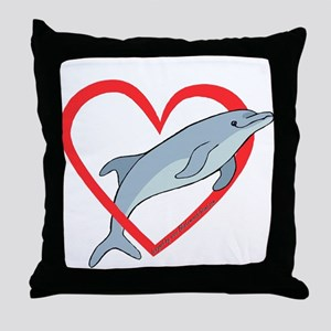 Dolphin Heart Throw Pillow