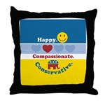 Happy Compassionate Conservative Throw Pillow