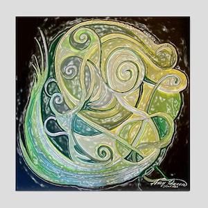 Green swirls Tile Coaster