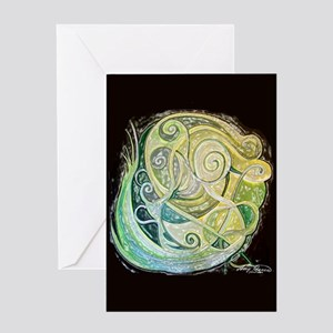 Green swirls Greeting Card