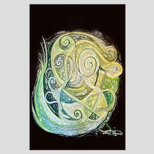 Green swirls Large Poster