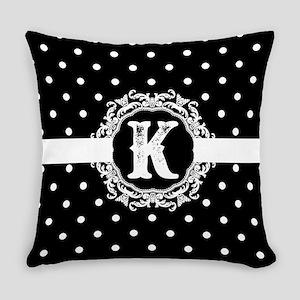 Black Monogram: Letter K Everyday Pillow