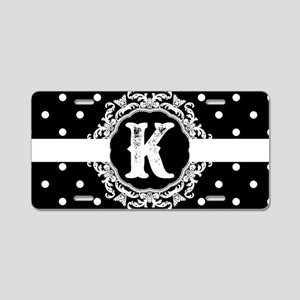 Black Monogram: Letter K Aluminum License Plate