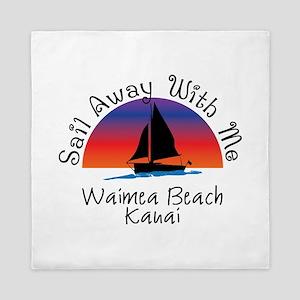 Sail Away with Me Waimea Beach Kauai Queen Duvet