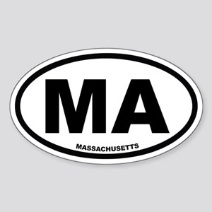 MA Massachusetts Euro Oval Sticker