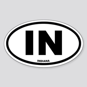 IN Indiana Euro Oval Sticker