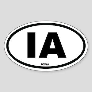 IA Iowa Euro Oval Sticker