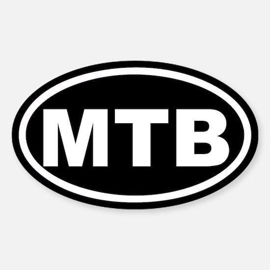 MTB Mountain Biking Black Euro Oval Decal