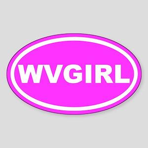 WV GIRL West Virginia Girl Pink Oval Sticker