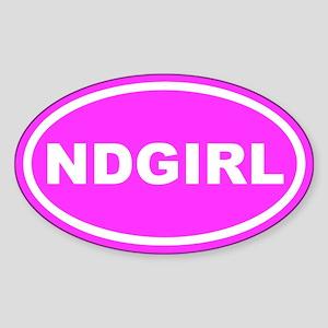 ND GIRL North Dakota Pink Euro Oval Sticker