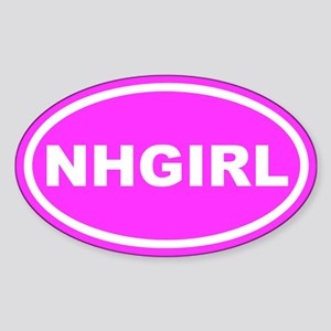 NH GIRL New Hampshire Pink Euro Oval Sticker