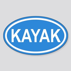 KAYAK Paddling Blue Euro Oval Sticker