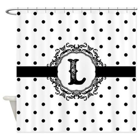 Black Monogram: Letter L Shower Curtain by Monograms_1