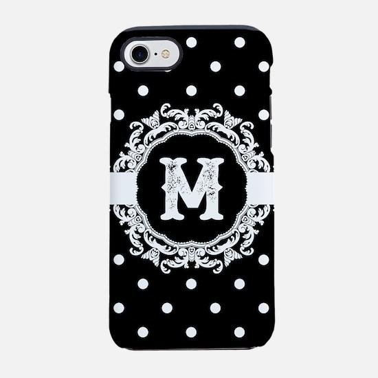 Black Monogram: Letter M iPhone 8/7 Tough Case