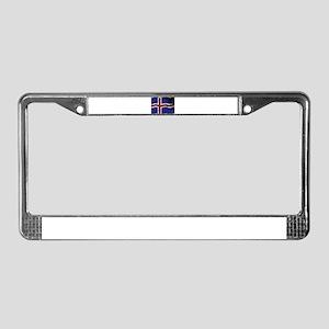 Iceland Flag Grunged License Plate Frame