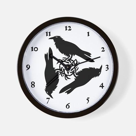 Raven Triskel Wall Clock