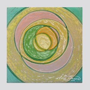 Green and yellow rings Tile Coaster