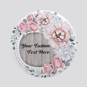 Custom Text Floral Wreath Round Ornament