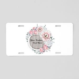 Custom Text Floral Wreath Aluminum License Plate