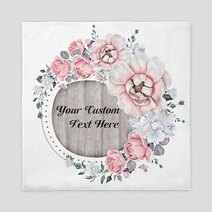 Custom Text Floral Wreath Queen Duvet