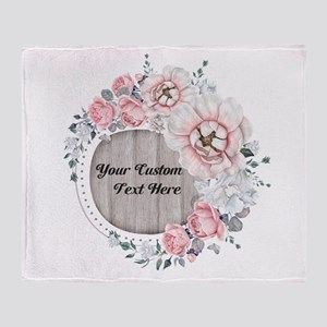Custom Text Floral Wreath Throw Blanket