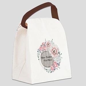 Custom Text Floral Wreath Canvas Lunch Bag