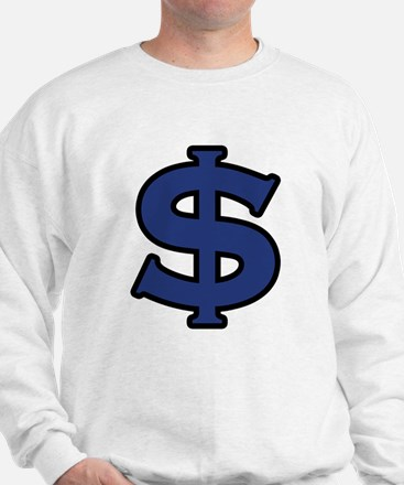 Dollar Sign Blue Black Sweatshirt