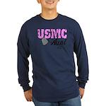 USMC Aunt x2 Long Sleeve Dark T-Shirt