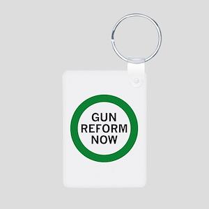 Gun Reform Now Aluminum Photo Keychain