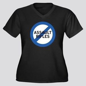 Ban Assault Rifles Women's Plus Size V-Neck Dark T