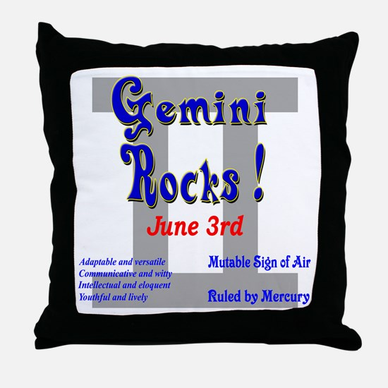 Gemini June 3rd Throw Pillow