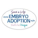 Embryo Adoption Awareness Oval Sticker