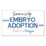 Embryo Adoption Awareness Rectangle Sticker