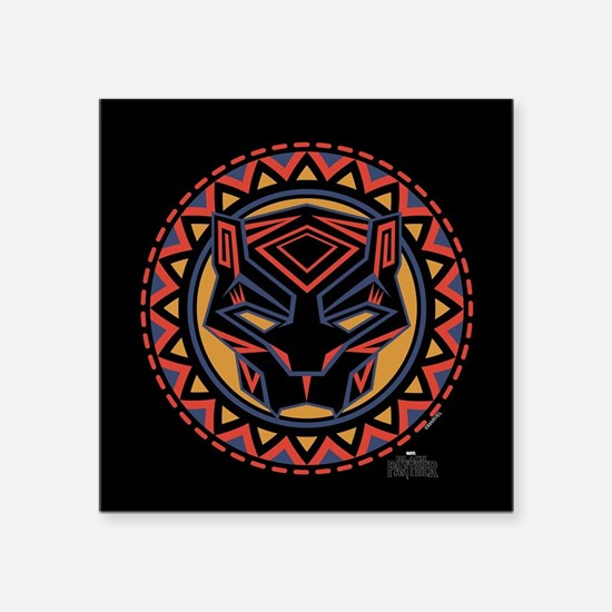 "Black Panther Circle Mask Square Sticker 3"" x 3"""