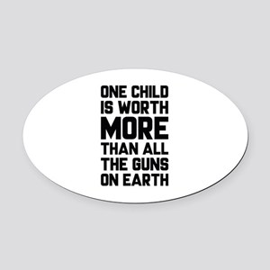 One Child Is Worth More Oval Car Magnet