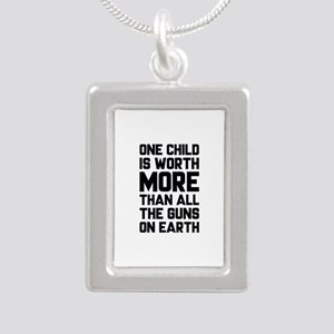 One Child Is Worth More Silver Portrait Necklace