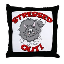 Stressed Out Cat Throw Pillow