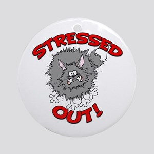 Stressed Out Cat Ornament (Round)