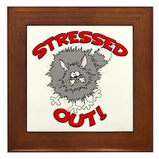 Stressed Out Cat Framed Tile