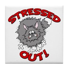 Stressed Out Cat Tile Coaster