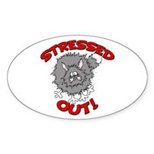 Stressed Out Cat Oval Sticker