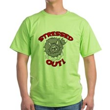 Stressed Out Cat Green T-Shirt