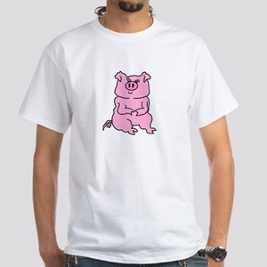 huge painted pink pig White T-Shirt