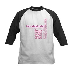 Pink Four Wheel Drive Girl Kids Baseball Jersey