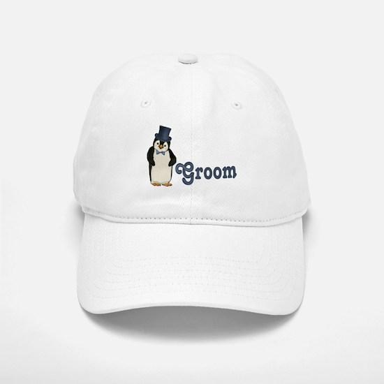 Penguin Wedding - Groom Baseball Baseball Cap