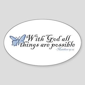 Matthew 19:26 Sticker (Oval)
